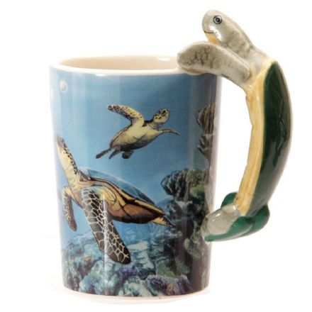 Turtle Shaped Handle Mug with Underwater Decal